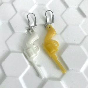 Vintage 60's western plastic pistol charm earrings